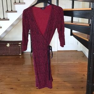 Red and navy wrap dress